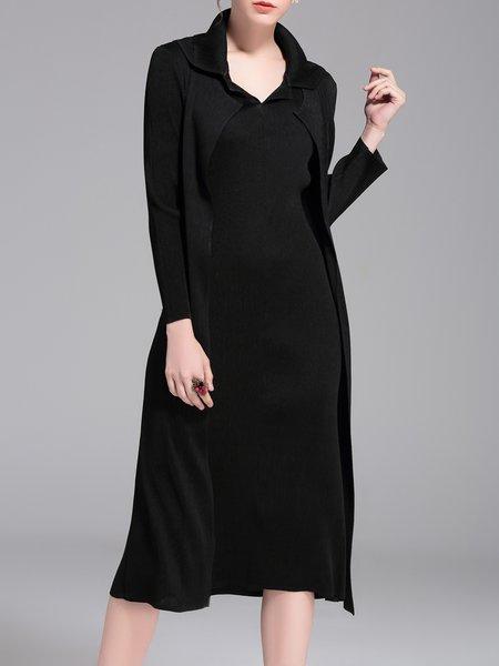 Polyester Paneled Casual Plain Midi Dress