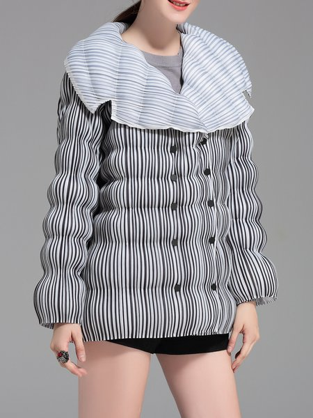 Casual Pleated H-line Polyester Coat
