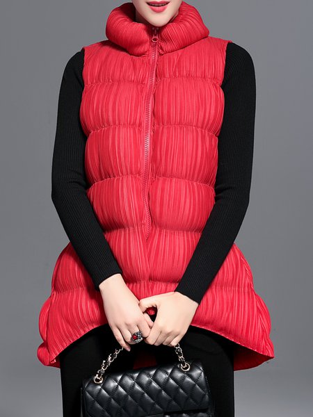 Stand Collar Sleeveless Casual Coat
