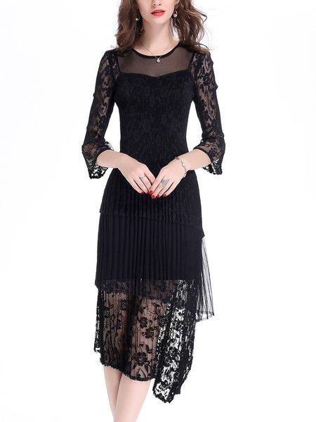 Black A-line Elegant Guipure Lace Midi Dress