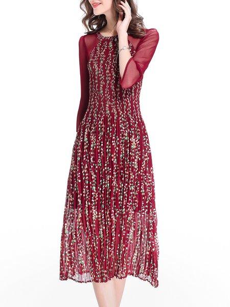 Burgundy 3/4 Sleeve Pleated Midi Dress