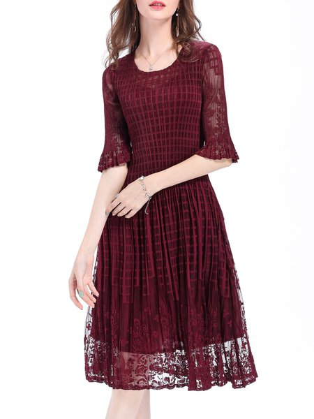 Burgundy A-line Polyester Guipure Lace Half Sleeve Midi Dress