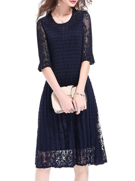 Dark Blue Guipure Lace Half Sleeve Midi Dress