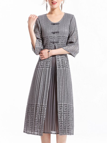 Gray Pleated 3/4 Sleeve Midi Dress