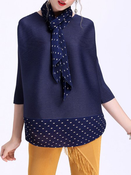 Dark Blue 3/4 Sleeve Tops