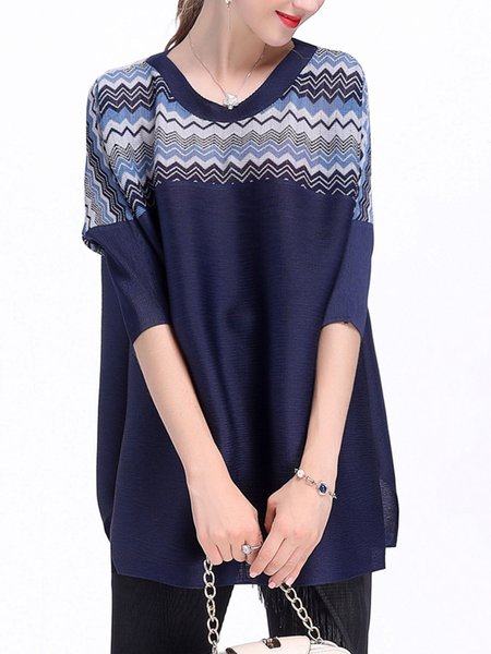 Dark Blue 3/4 Sleeve Pleated Tops