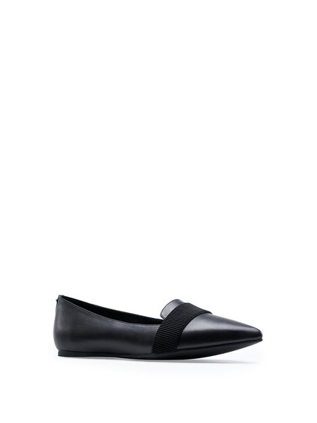 Black Leather Gore Flat Heel Casual Flats