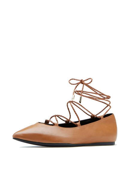 Flat Heel Leather Lace-up Flats