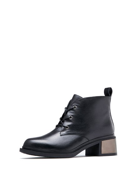 Black Lace-up Leather Winter Casual Boots