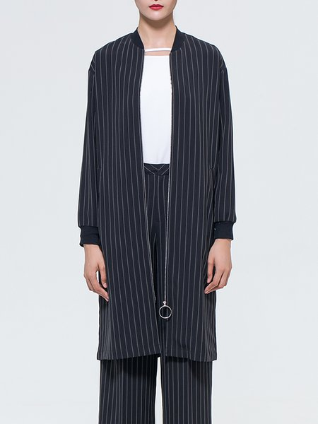 Zipper Casual Stripes Long Sleeve Coat