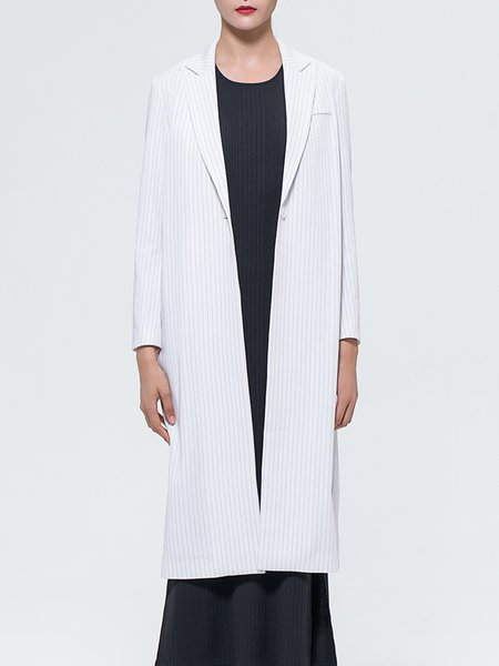 Stripes Simple Buttoned Long Sleeve Coat