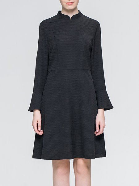 Black Bell Sleeve Stand Collar Midi Dress