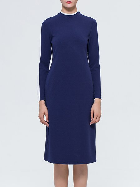 Simple Color-block Long Sleeve Midi Dress