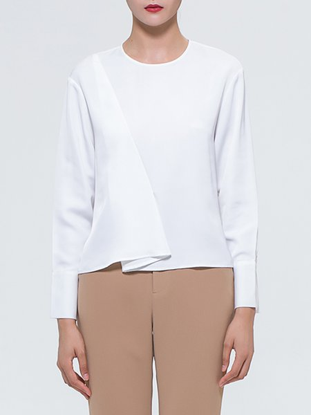 Folds Simple Crew Neck Long Sleeve Top