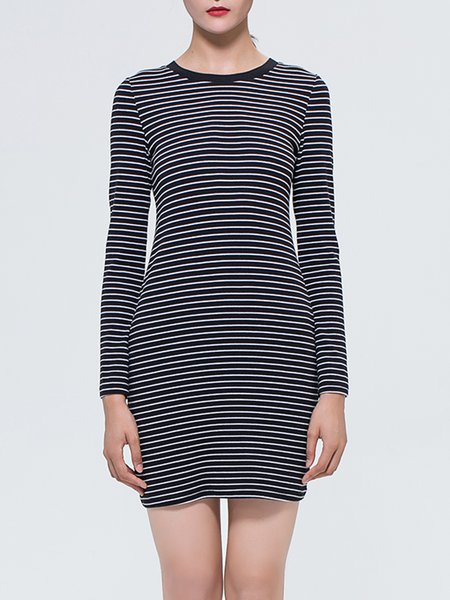 Black Stripes Simple Crew Neck Cotton Mini Dress