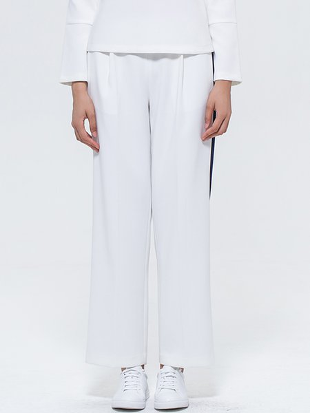 White Simple Color-block Plain Wide Leg Pants