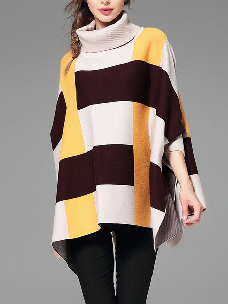 3/4 Sleeve Casual Turtleneck Striped Cashmere Sweater