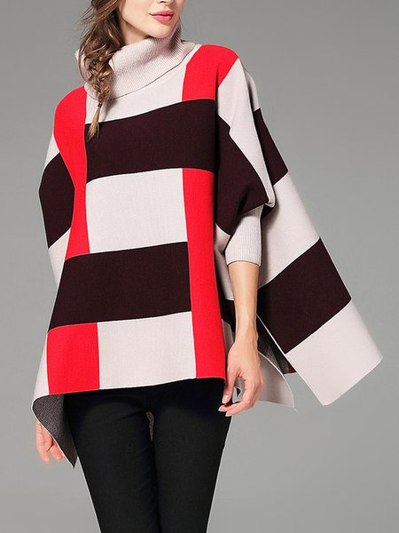 Stripes 3/4 Sleeve Turtle Neck Sweater