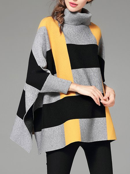 Turtle Neck 3/4 Sleeve Striped Sweater