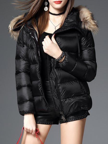 Hoodie Casual Long Sleeve H-line Down Coat