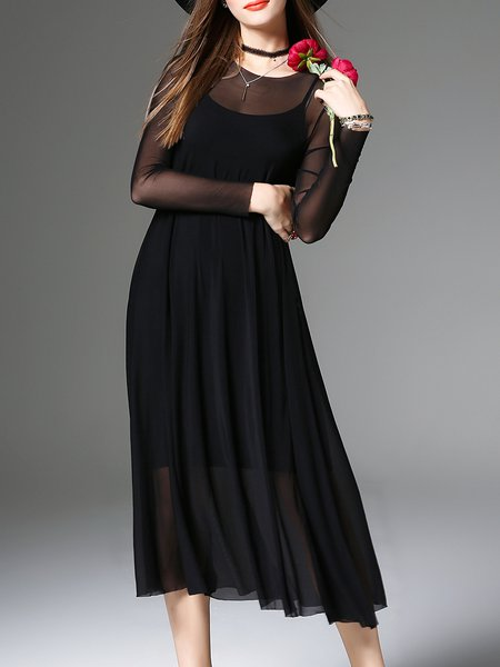 Black Elegant Crew Neck Midi Dress With Camis
