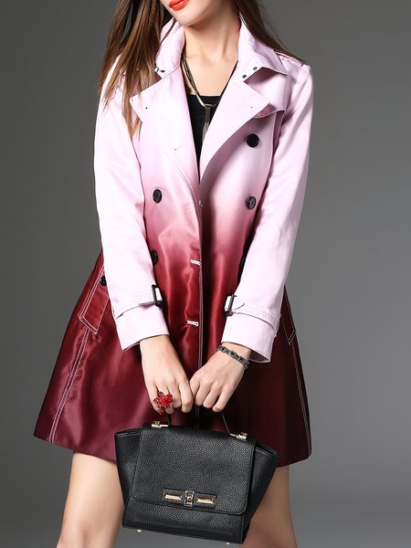 Ombre/Tie-Dye Casual Pockets Trench Coat