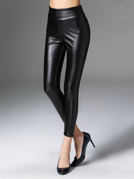 Black Plain Sheath PU Casual Leather Pants