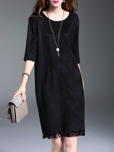 Black Solid Faux Suede Slit Fringed H-line Elegant Midi Dress