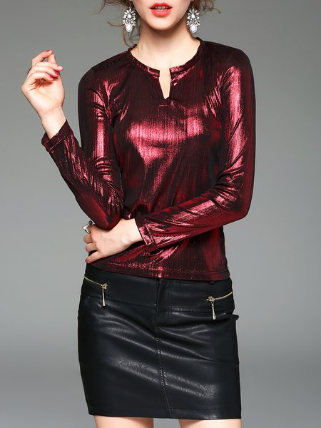 V Neck H-line Elegant Solid Long Sleeved Top