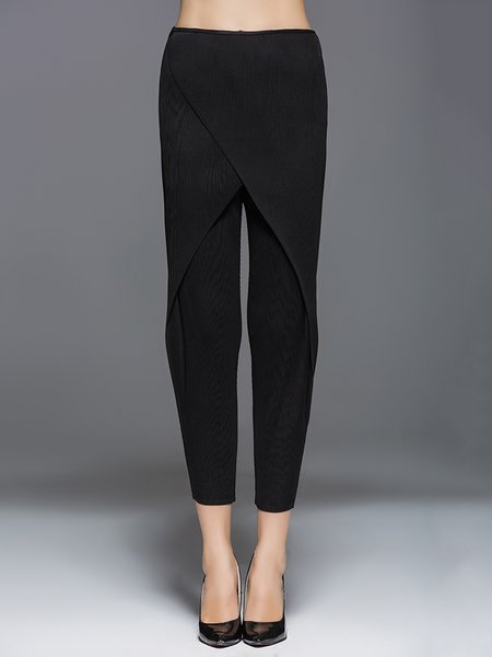 Casual Ribbed Solid Straight Leg Pants