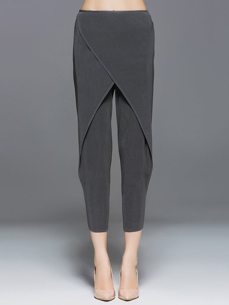 Ribbed Casual Solid Straight Leg Pants