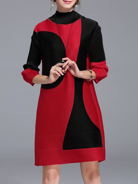 Turtleneck Shift Casual 3/4 Sleeve Color-block Mini Dress
