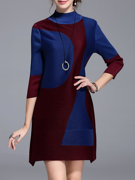 3/4 Sleeve Shift Casual Color-block Mini Dress