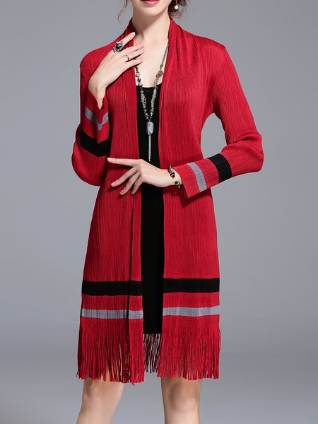 Color-block Casual Long Sleeve Stand Collar Coat