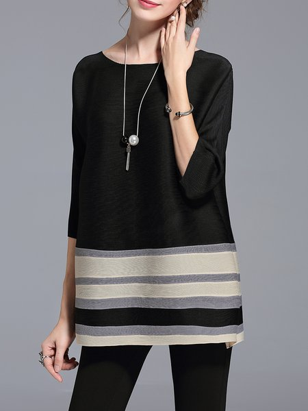 Color-block 3/4 Sleeve Casual Tunic