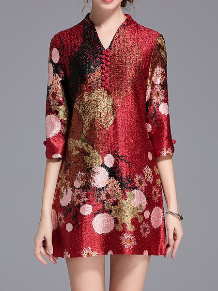 Crimson Floral-print A-line Vintage Appliqued Mini Dress