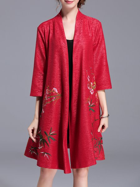 Floral-embroidered 3/4 Sleeve Vintage A-line Stand Collar Coat