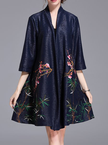 Floral-embroidered Stand Collar Vintage 3/4 Sleeve A-line Coat
