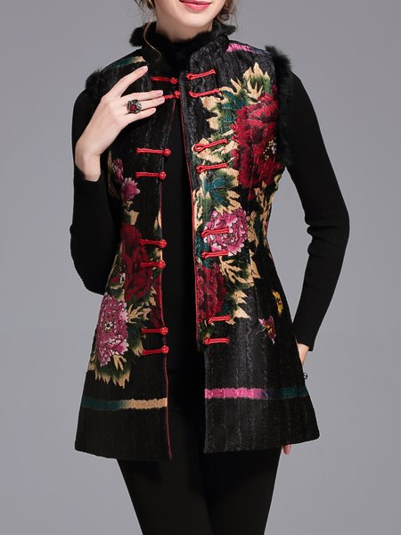Vintage Sleeveless Floral-print Fur And Shearling Coat