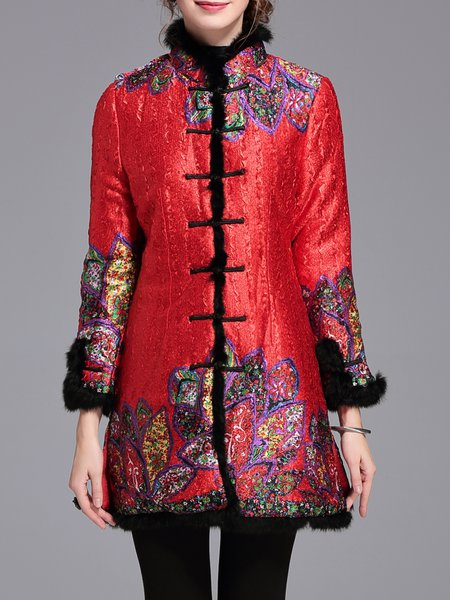 Vintage A-line Floral-print Long Sleeve Fur And Shearling Coat