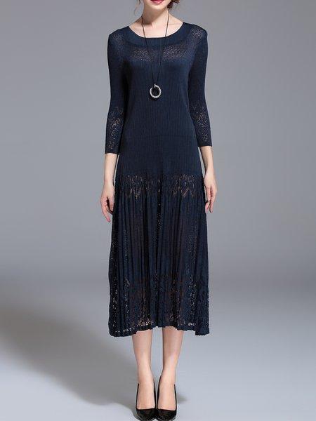 3/4 Sleeve Casual Plain Midi Dress