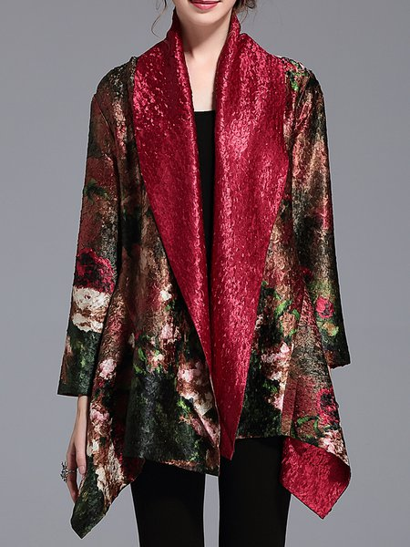 Long Sleeve Floral Printed Vintage Poncho And Cape
