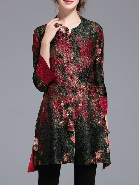 Multicolor Vintage H-line Floral-print Coat