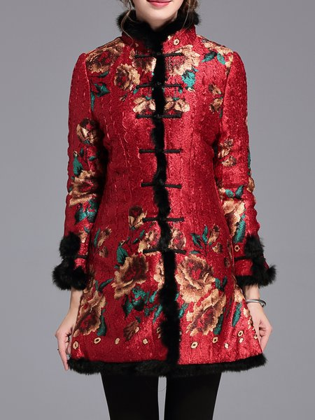 Vintage Long Sleeve Stand Collar Floral Fur And Shearling Coat