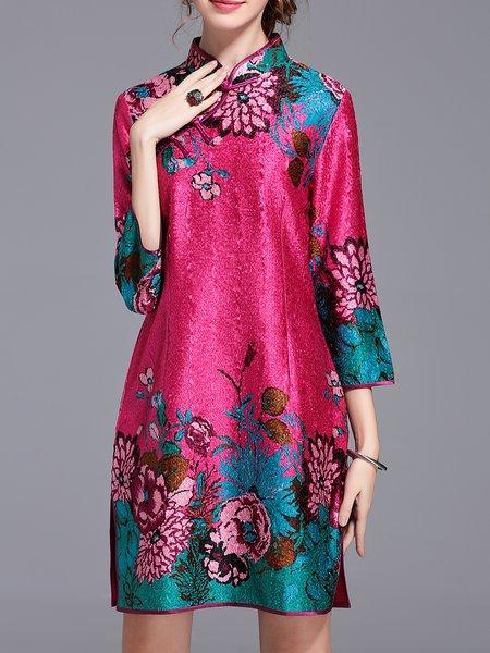 Fuchsia Stand Collar Vintage Mini Dress