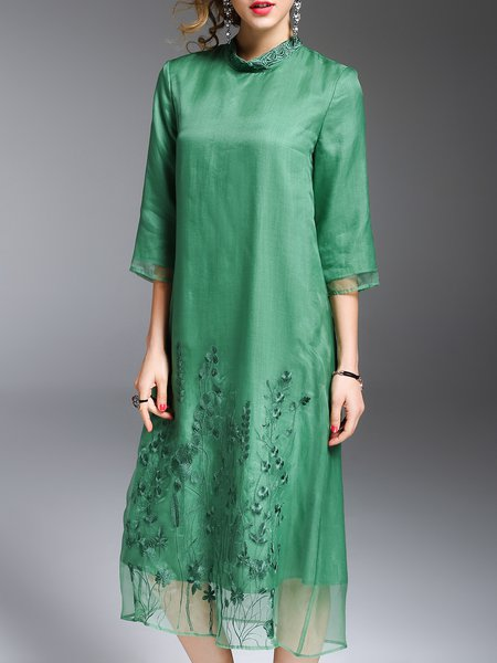 Green Shift Embroidered Casual Silk Midi Dress