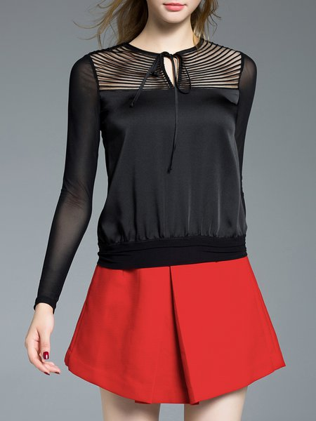 Black Keyhole Casual Sheath Long Sleeved Top