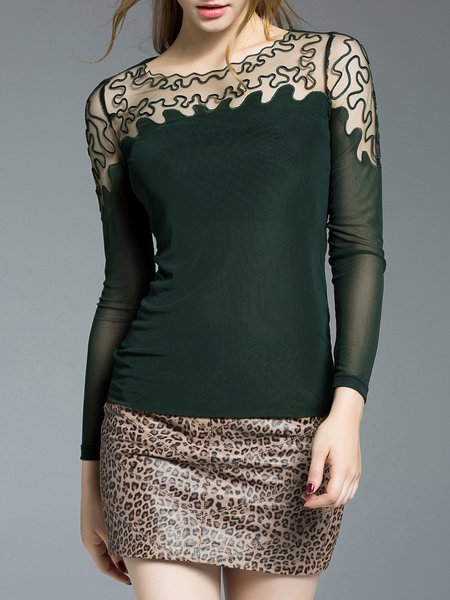 Dark Green Crew Neck Sheath Paneled Long Sleeved Top