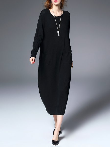 Black Solid Shift Long Sleeve Sweater Dress