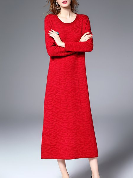 Knitted Crew Neck Long Sleeve Sweater Dress